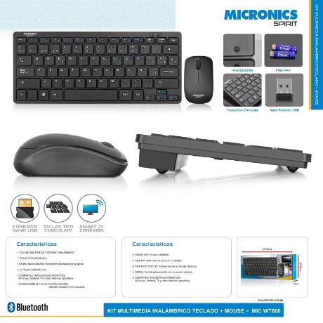 KIT TECLADO + MOUSE INALAMBRICO MICRONICS SPIRIT (MIC WT800)