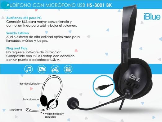 AUDÍFONO CON MICRÓFONO USB ESTÉREO (HS-3001BK)